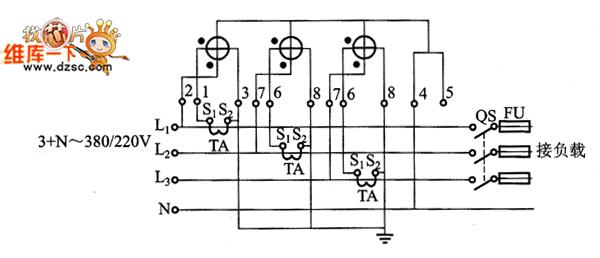 型三相三线有功电能表配电压互感器,电流互感器接线原理图